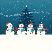 Holiday Christmas card with singing snowmen