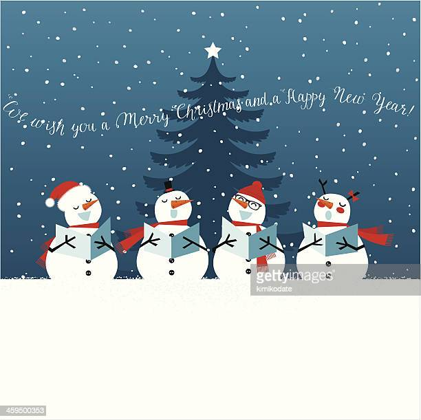 holiday christmas card with singing snowmen - snowman stock illustrations