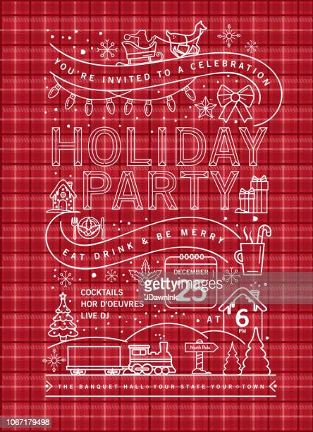 holiday christmas party invitation design template on plaid texture with line art icons - tartan stock illustrations