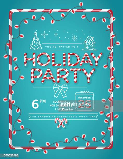 holiday christmas party invitation design template with candy cane text and line art icons - candy cane stock illustrations