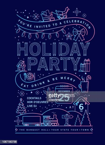 ilustrações de stock, clip art, desenhos animados e ícones de holiday christmas party invitation design template with line art icons - feriado