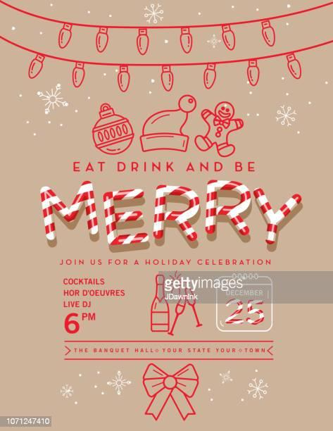 ilustraciones, imágenes clip art, dibujos animados e iconos de stock de vacaciones navidad fiesta invitación plantilla de diseño con los iconos de arte de línea - galletas navidad