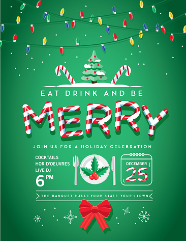 Holiday Christmas Party Invitation Design Template with line art icons - gettyimageskorea