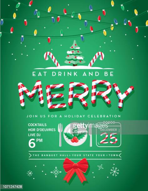 holiday christmas party invitation design template with line art icons - candy cane stock illustrations