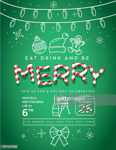 holiday christmas party invitation design template with line art icons - green hat stock illustrations