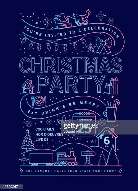 holiday christmas party invitation design template with line art icons stock illustration - sleigh stock illustrations