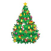holiday christmas tree isolated decoration for celebrate xmass with ball