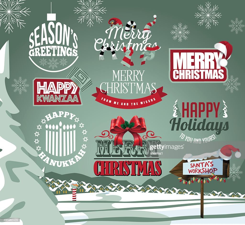 Holiday collection of labels, emblems and type treatments