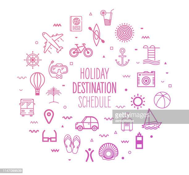 ilustraciones, imágenes clip art, dibujos animados e iconos de stock de destinos de vacaciones y horarios esquema de diseño infográfico - ocio