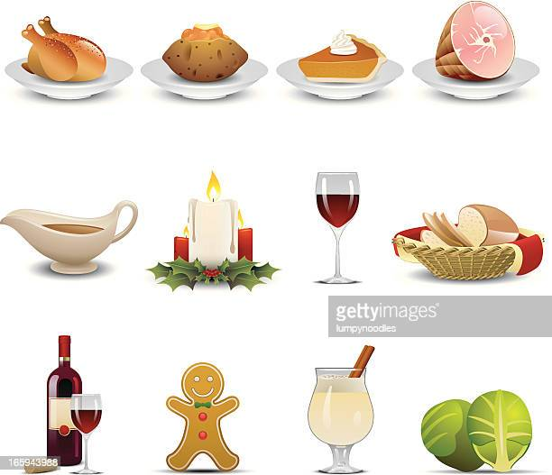 holiday dinner icons - brussels sprout stock illustrations, clip art, cartoons, & icons