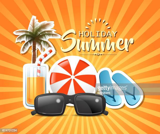 holiday energy - beach holiday stock illustrations, clip art, cartoons, & icons