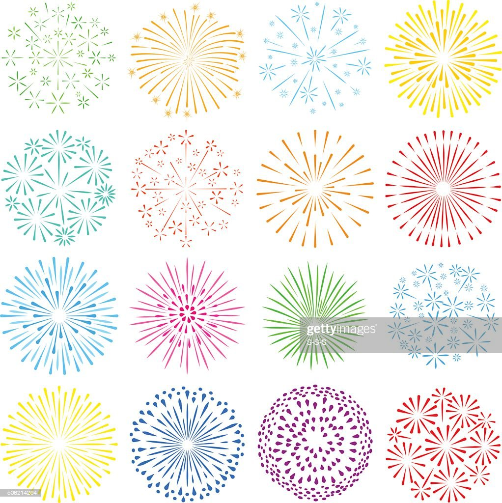 Holiday fireworks icons