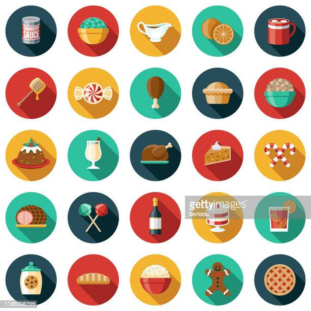 holiday foods icon set - mulled wine stock illustrations, clip art, cartoons, & icons