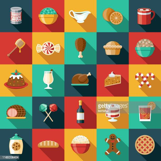 stockillustraties, clipart, cartoons en iconen met vakantie voedingsmiddelen icon set - food