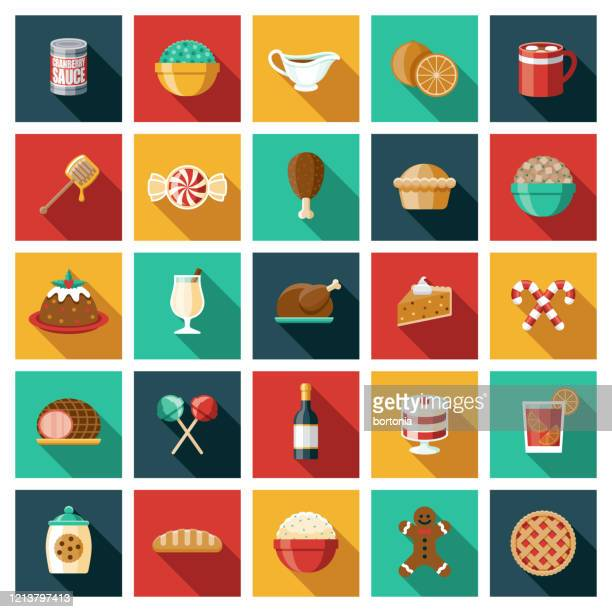 holiday foods icon set - meat pie stock illustrations