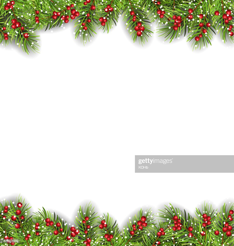 Holiday Frame with Fir Branches and Holly Berries