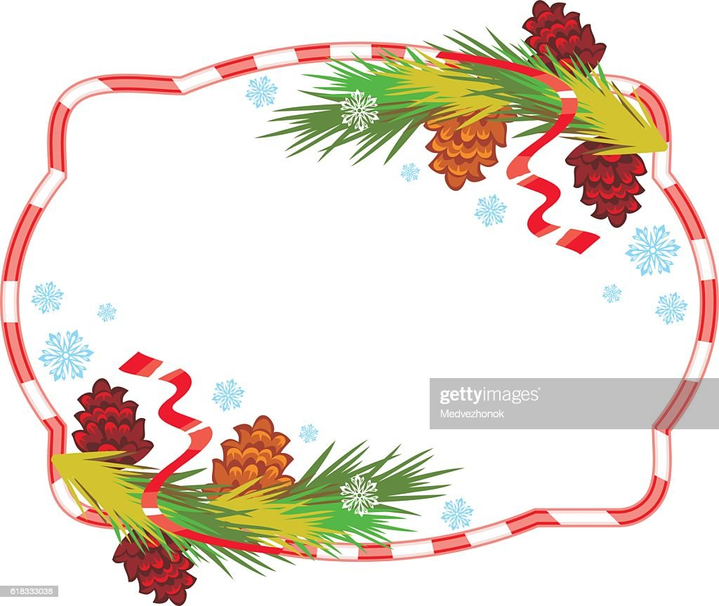 Holiday frame with pine branch