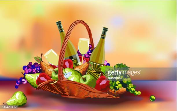 Holiday Fruit Basket Illustration