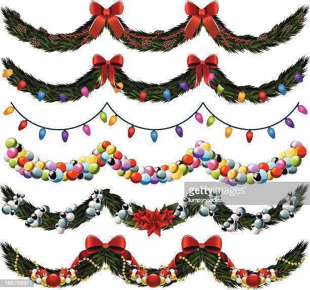 ilustraciones, imágenes clip art, dibujos animados e iconos de stock de holiday garland - flor de pascua