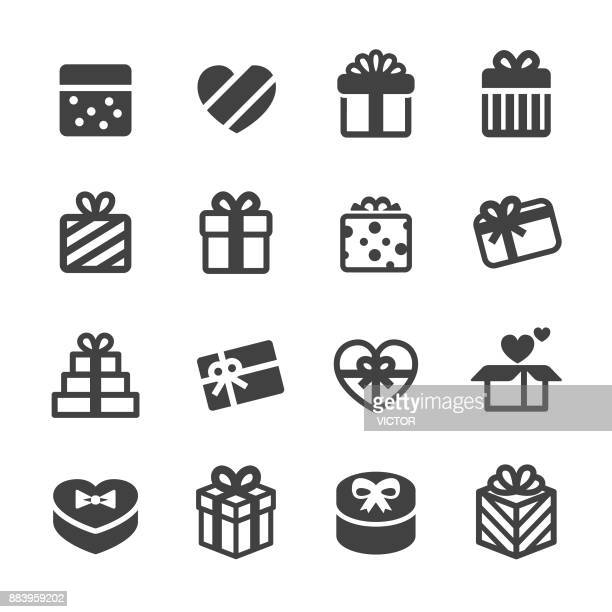 holiday gift boxes icons - acme series - tied bow stock illustrations