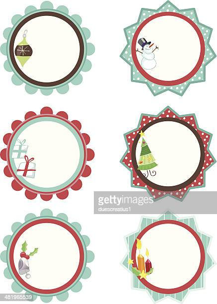 holiday gift tags for christmas - gift tag note stock illustrations