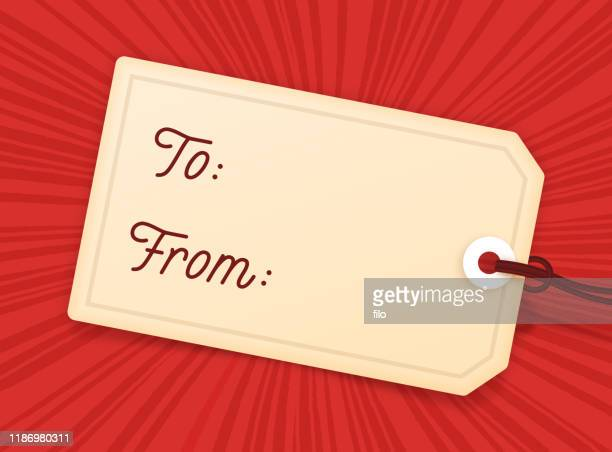 holiday gift to from gift tag - gift tag note stock illustrations
