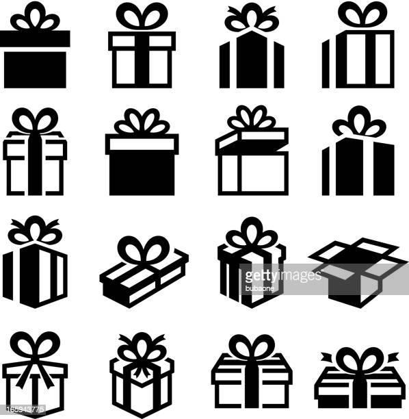 ilustraciones, imágenes clip art, dibujos animados e iconos de stock de cajas de regalo de navidad regalos negro & conjunto de iconos de vector blanco - caja de regalo