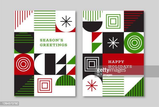 urlaub grußkarte designs mit retro midcentury geometrische grafik - quadratisch zweidimensionale form stock-grafiken, -clipart, -cartoons und -symbole