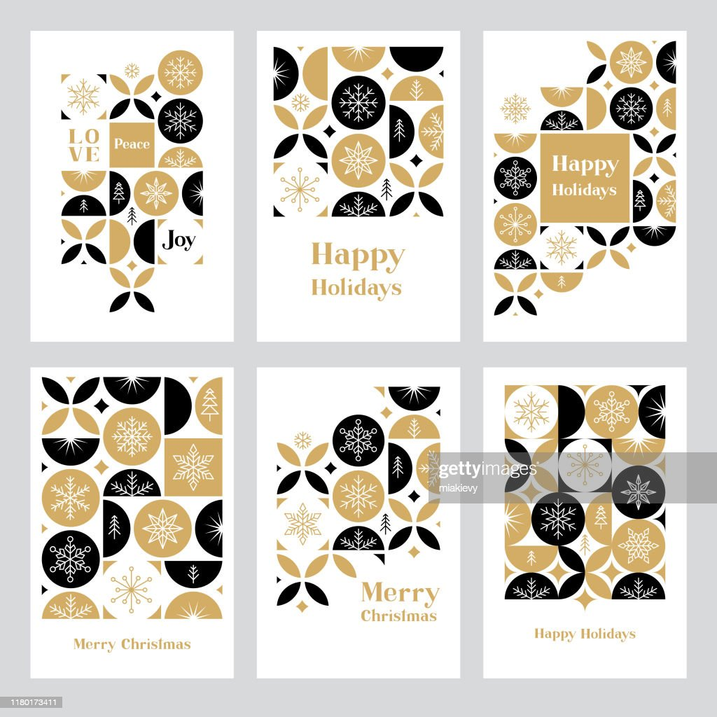 Holiday greeting card set with snowflakes : Stock Illustration