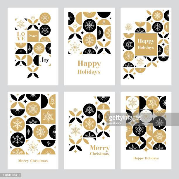 holiday greeting card set with snowflakes - design stock illustrations