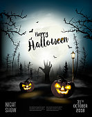 Holiday Halloween Spooky background with pumpkins and hand. Vector