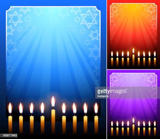 holiday hanukkah candles on dark frame background - hanukkah stock illustrations, clip art, cartoons, & icons