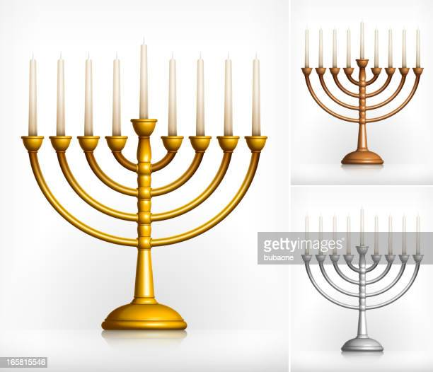 holiday hanukkah menorah on white - menorah stock illustrations
