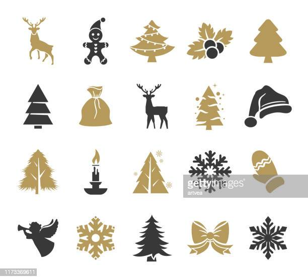holiday icons set - mammal stock illustrations