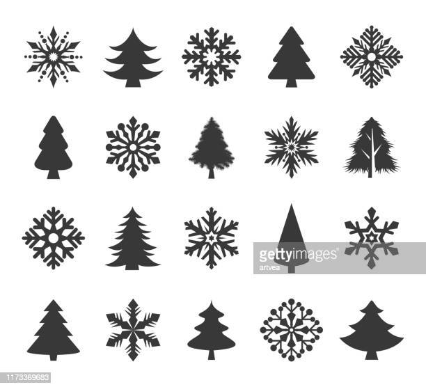 holiday icons set - christmas trees stock illustrations