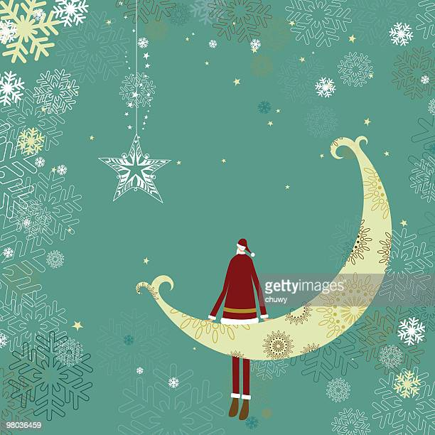 Holiday illustration with Santa sitting on the moon