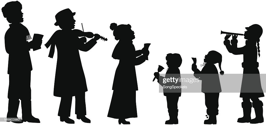 Holiday Musicians Silhouettes : stock illustration