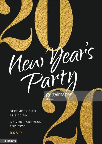 ilustrações de stock, clip art, desenhos animados e ícones de 2020 - holiday new years party invitation design template. - 2020