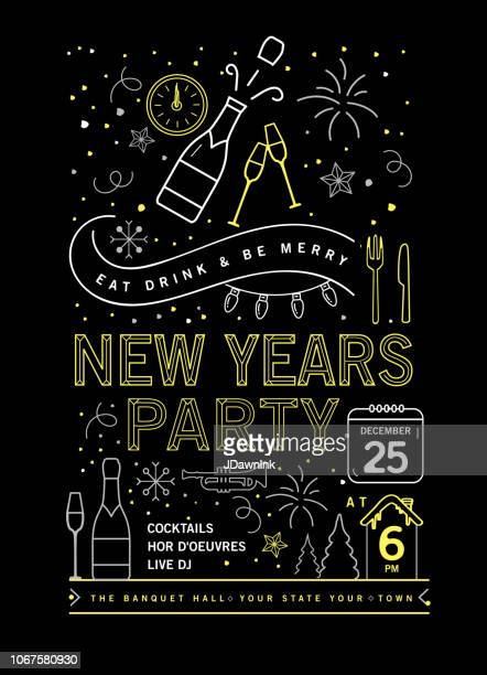 holiday new years party invitation design template with line art icons - invitation stock illustrations