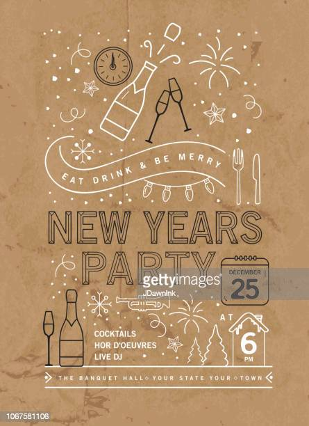 ilustraciones, imágenes clip art, dibujos animados e iconos de stock de vacaciones nueva años partido invitación plantilla de diseño con los iconos de arte de línea - fiesta