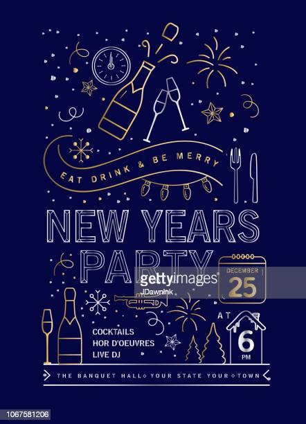 holiday new years party invitation design template with line art icons - champagne stock illustrations