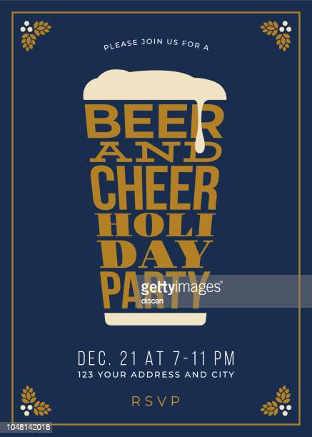 holiday party - beer glass concept slogan background - beer glass stock illustrations, clip art, cartoons, & icons