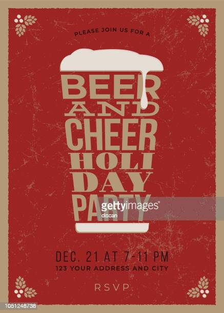 holiday party - beer glass concept slogan background - vintage restaurant stock illustrations