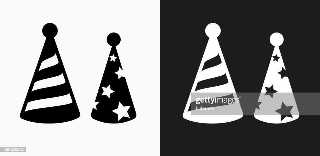 088d88928 Holiday Party Hats Icon On Black And White Vector Backgrounds stock ...
