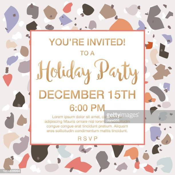 holiday party invitation on a terrazzo pattern background - marble rock stock illustrations, clip art, cartoons, & icons
