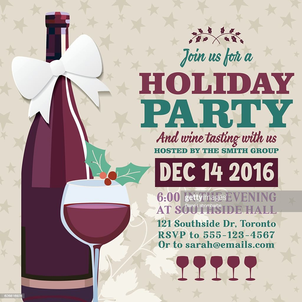 Holiday party invitation template with wine tasting vector art holiday party invitation template with wine tasting vector art stopboris Choice Image