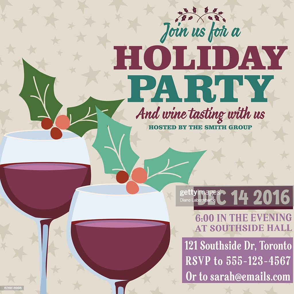 Holiday Party Invitation Template With Wine Tasting Vector Art ...