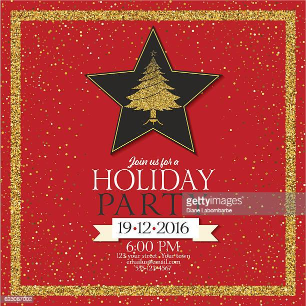 Holiday Party Invitation With Golden Metallic Glitter