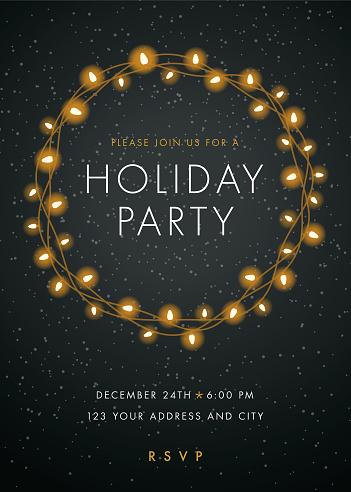 Holiday party invitation with Lights Wreath. - gettyimageskorea