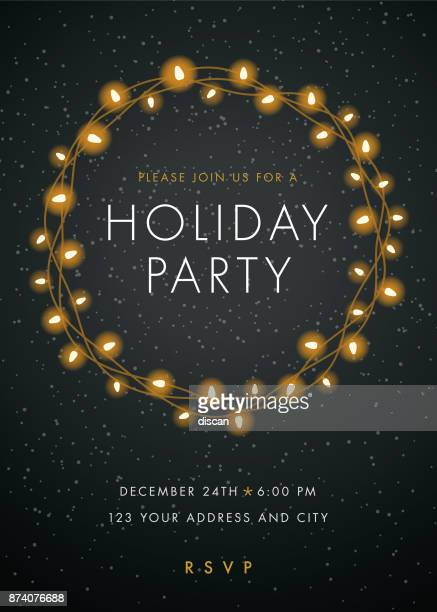holiday party einladung mit lichter kranz. - party stock-grafiken, -clipart, -cartoons und -symbole